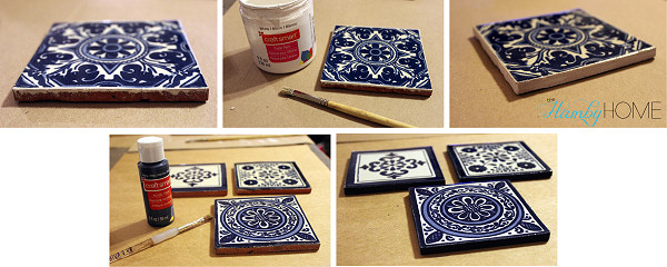 Mexican tile edge painting